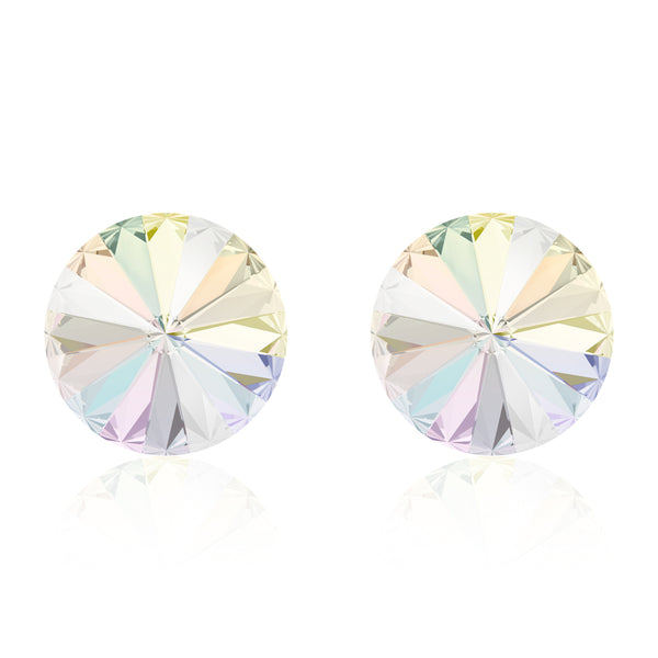 Multicolour round earrings, Licorne Rivoli, Swarovski crystals, made in montreal 1122-001AB