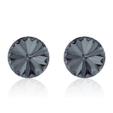 Black round earrings, Graphite Rivoli, Swarovski crystals, made in montreal 1122-001SINI