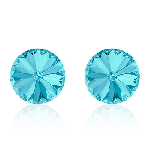 Light blue round earrings, Cielo Rivoli, Swarovski crystals, made in montreal 1122-202