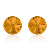 Orange round earrings, Pumpkin Pie Rivoli, Swarovski crystals, made in montreal 1122-203