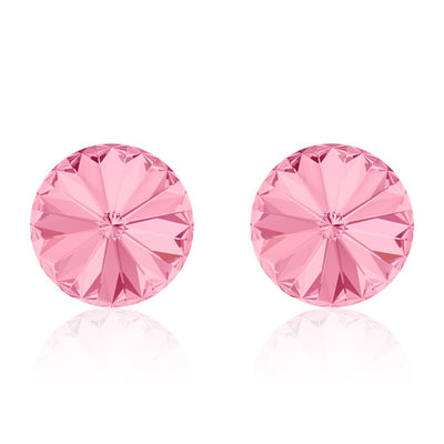 Hibiscus Rivoli Stud Earrings Made of Crystals from Swarovski - 6.2mm - Light Rose