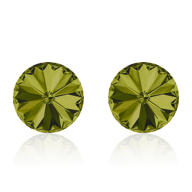Green round earrings, Thé Vert Rivoli, Swarovski crystals, made in montreal 1122-228
