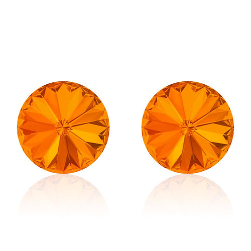 Orange round earrings, Marmelade Rivoli, Swarovski crystals, made in montreal 1122-259