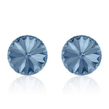 Jean blue round earrings, Denim Rivoli, Swarovski crystals, made in montreal 1122-266