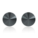 Black round earrings, Jet Noir Rivoli, Swarovski crystals, made in montreal 1122-280