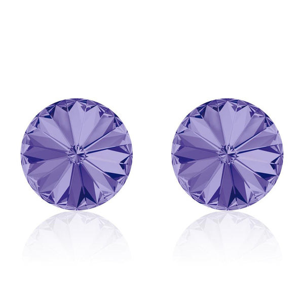 Purple round earrings Artichaut Mauve, Swarovski crystals, made in montreal  1122-539