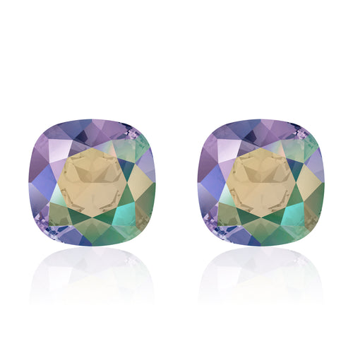 Multicolour square earrings, Escata Cushion, Swarovski crystals, Made in montreal 4470-PARSH