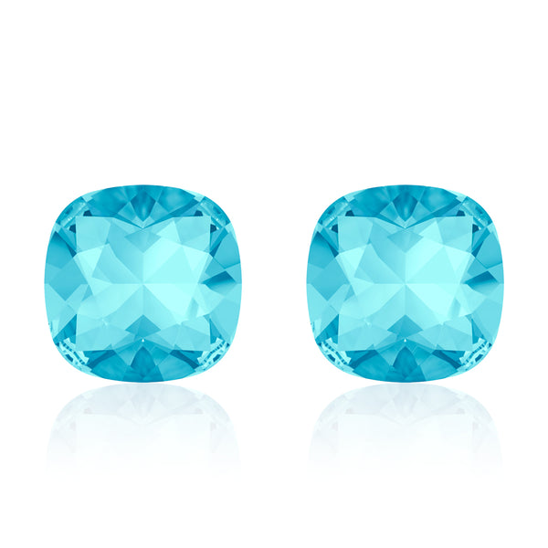 Light blue square earrings, Cielo Cushion, Swarovski crystals, Made in montreal 4470-202