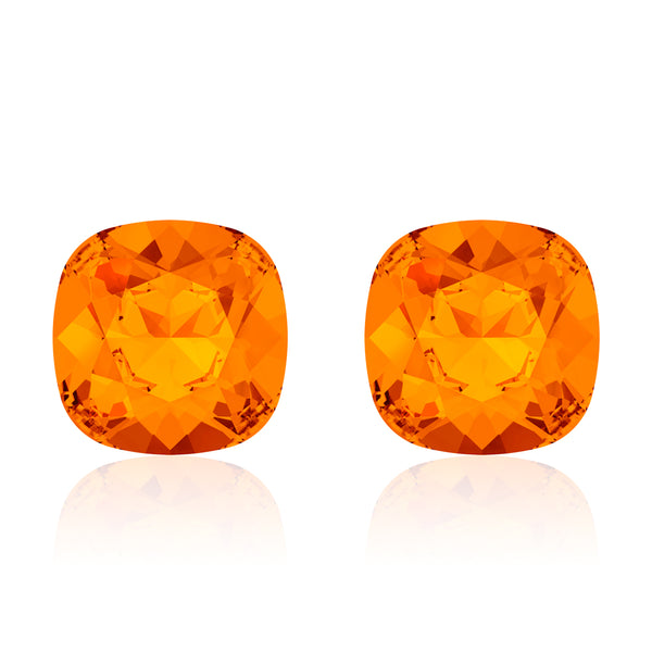 Orange square earrings, Marmelade Cushion, Swarovski crystals, Made in montreal 4470-259