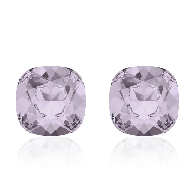 Light purple square earrings, Smoky Mauve Cushion, Swarovski crystals, Made in montreal 4470-265