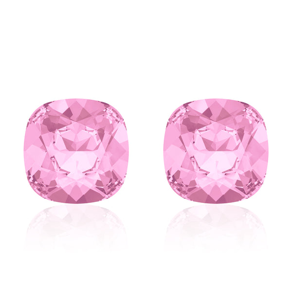 Pink square earrings, Cupcake Cushion, Swarovski crystals, Made in montreal 4470-508