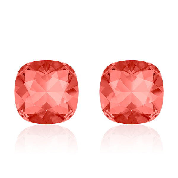 Light red square earrings, Melon d'Eau Cushion, Swarovski crystals, Made in montreal 4470-542