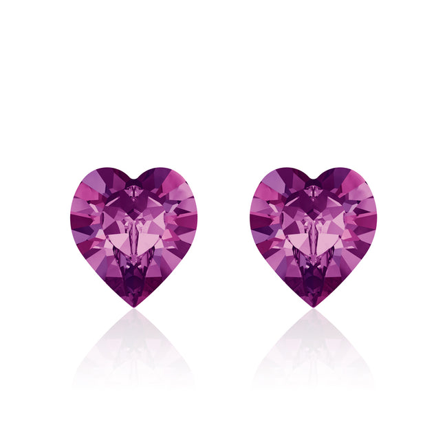 Purple heart earrings Amethyst, Swarovski crystals, Made in montreal 4884-204