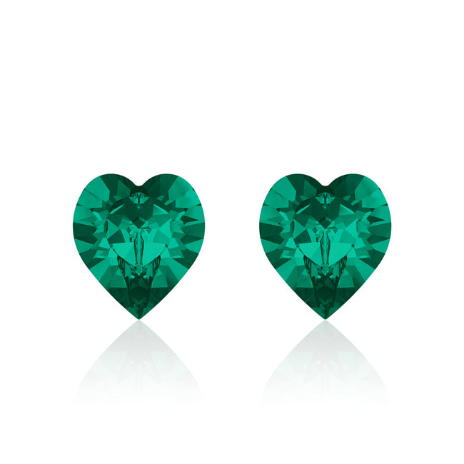 Green heart earrings classic blue, Swarovski crystals, Made in montreal 4884-205