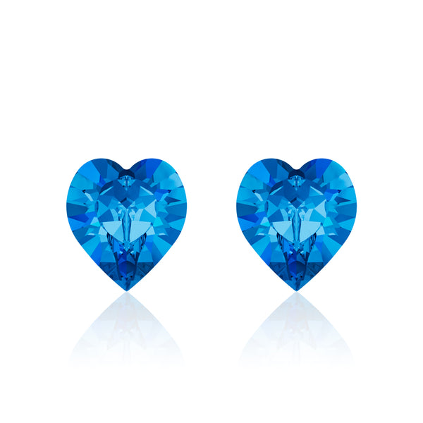 blue heart earrings classic blue, Swarovski crystals, Made in montreal 4884-206