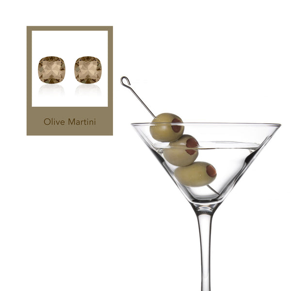 Olive Martini Cushion Earrings