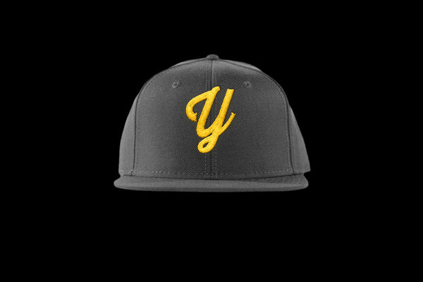 "Young ""Y"" Snap Back Hat (15 color combinations) Charcoal/Gold, Headwear - Young Blvd. Apparel, Young Blvd. Apparel  - 8"