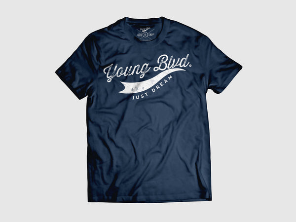 Young Forever Dream Signature Short Sleeve Shirt (6 Colors) XS / Navy/White, Shirts - Young Blvd. Apparel, Young Blvd. Apparel  - 3