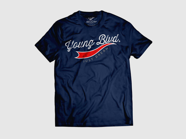Young Forever Dream Signature Short Sleeve Shirt (6 Colors) XS / Navy/Red/Grey, Shirts - Young Blvd. Apparel, Young Blvd. Apparel  - 5