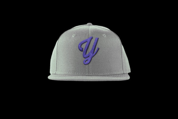 "Young ""Y"" Snap Back Hat (15 color combinations) Grey/Purple, Headwear - Young Blvd. Apparel, Young Blvd. Apparel  - 1"