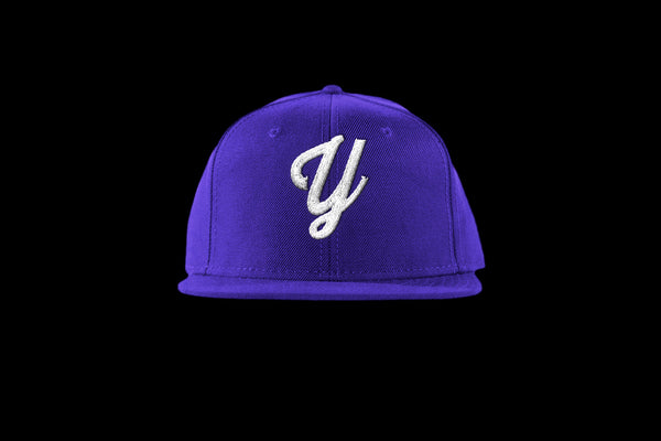 "Young ""Y"" Snap Back Hat (15 color combinations) Purple/White, Headwear - Young Blvd. Apparel, Young Blvd. Apparel  - 6"