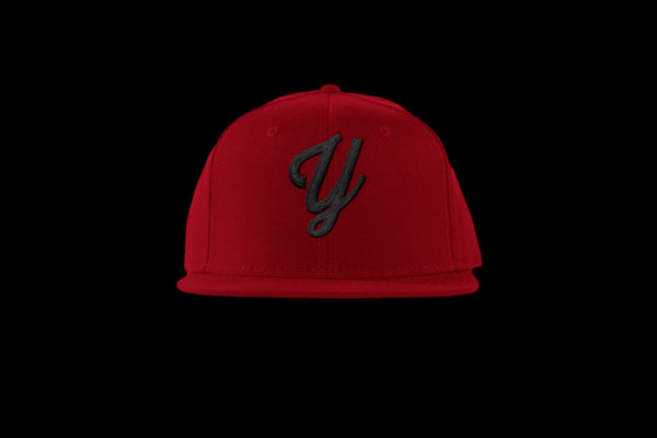 "Young ""Y"" Snap Back Hat (15 color combinations) Red/Black, Headwear - Young Blvd. Apparel, Young Blvd. Apparel  - 4"