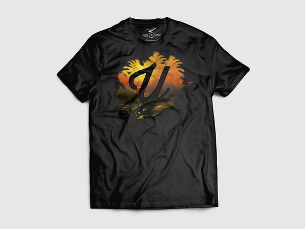 Splash of Utopia Short Sleeve T Shirt (3 Color combos) Small / Black/Tropicana, Shirts - Young Blvd. Apparel, Young Blvd. Apparel  - 3