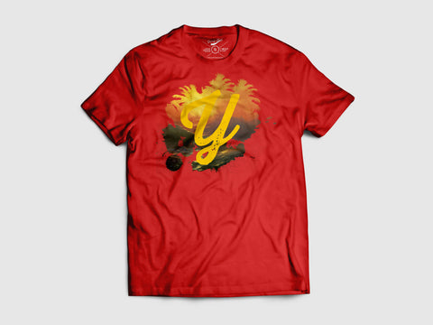 Splash of Utopia Short Sleeve T Shirt (3 Color combos) Small / Red/Tropicana, Shirts - Young Blvd. Apparel, Young Blvd. Apparel  - 1