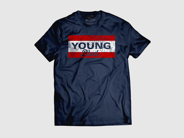 Cut Out YB Short Sleeve T Shirt  (4 Color combos) Small / Navy/Red/Whtie, Shirts - Young Blvd. Apparel, Young Blvd. Apparel  - 1