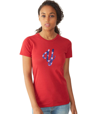 Young Stars on Me Women's Short Sleeve Shirt (3 Colors) S / Red/Blue/White, Women's Shirts - Young Blvd. Apparel, Young Blvd. Apparel  - 1