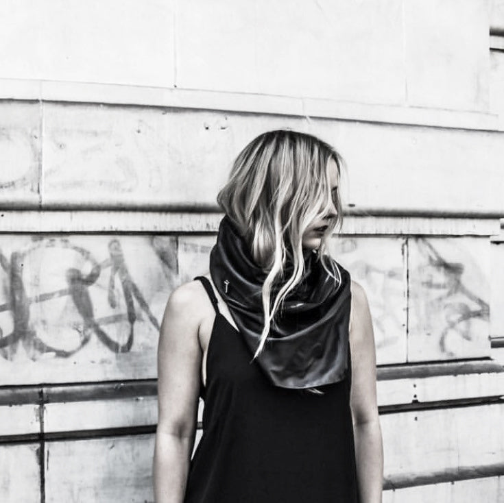 black leather scarf