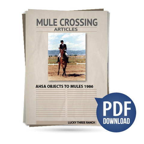 AHSA Objects to Mules 1986