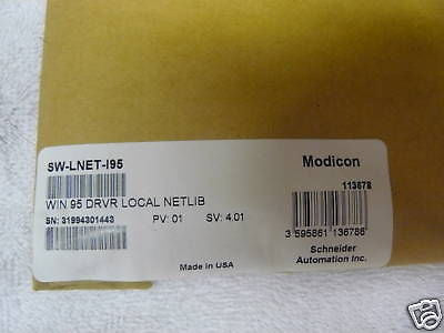 SW-LNET-195 NEW Modicon Win95 Local Netlib SWLNET195