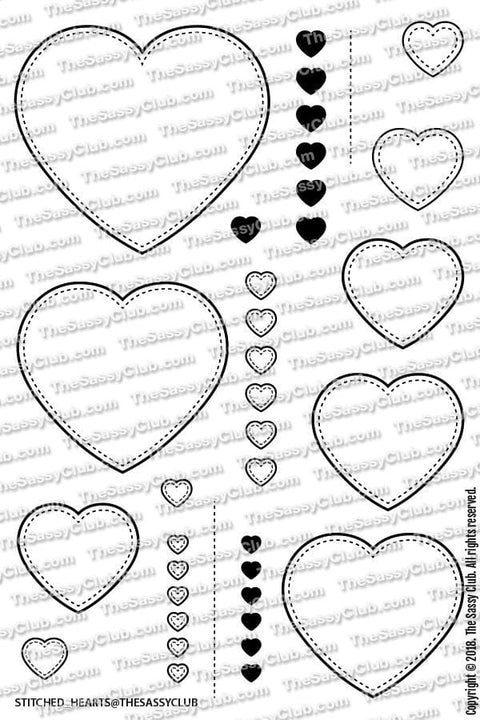 Stitched Hearts - Clear Stamps by The Sassy Club