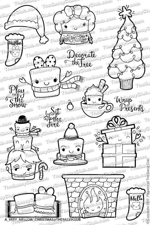 A Very Mellow Christmas - Clear Stamps by The Sassy Club