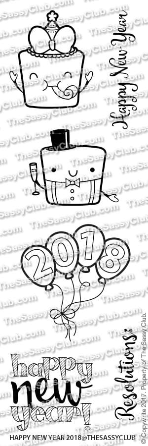 Happy New Year - Clear Stamps by The Sassy Club
