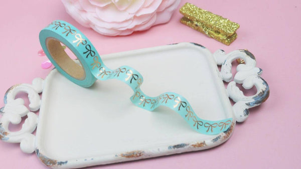 Bow Washi Mint w/ Rose Gold (Slim Width) - The Sassy Club