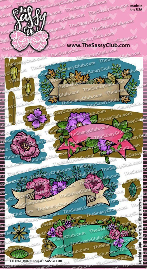 Floral Banners - Clear Stamps by The Sassy Club