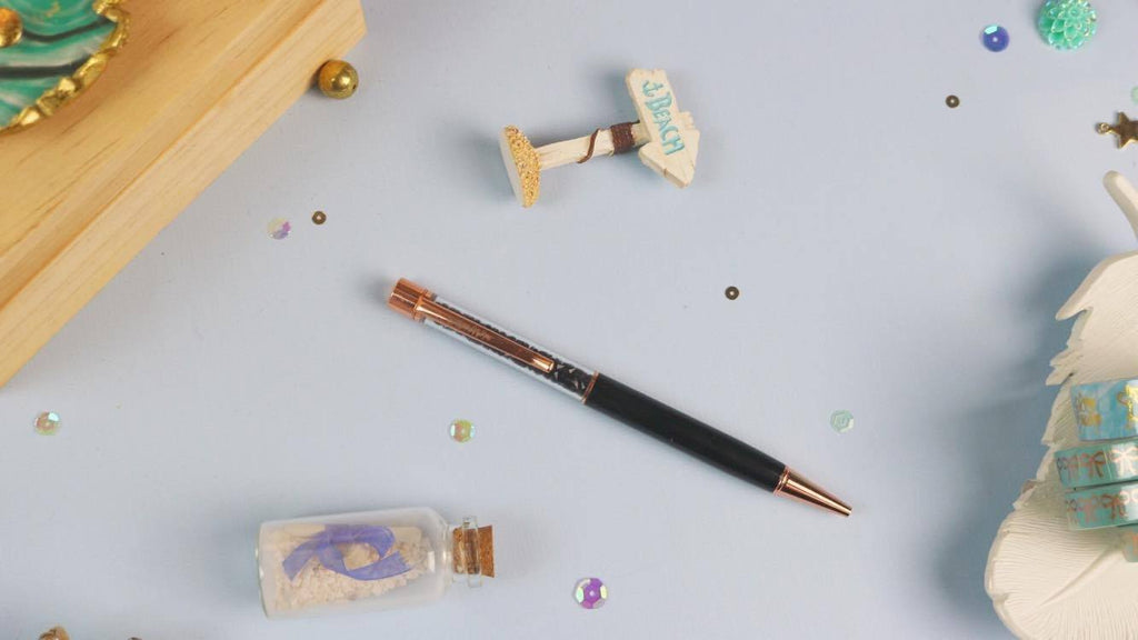 Black Crystal Pen w/ Rose Gold Hardware - Planner Stamps by The Sassy Club