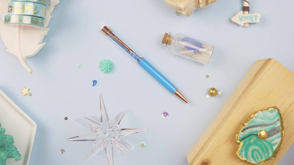 Coastal Blue Crystal Pen w/ Rose Gold Hardware - Clear Stamps by The Sassy Club