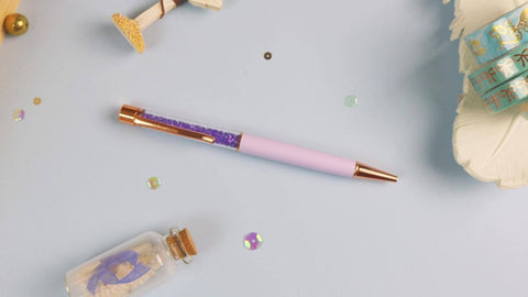 Purple Crystal Pen w/ Rose Gold Hardware - Planner Stamps by The Sassy Club