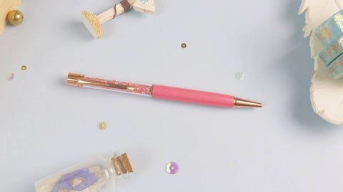 Unicorn Pink Crystal Pen w/ Rose Gold Hardware - Planner Stamps by The Sassy Club