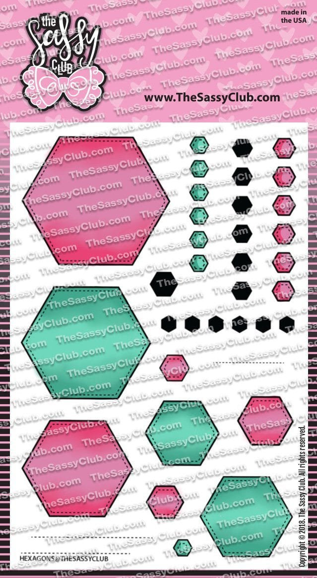 Stitched Hexagons - Clear Stamps by The Sassy Club