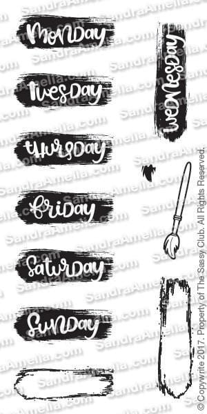 Brush Stroke Days ( 2x4) - Planner Stamps by The Sassy Club