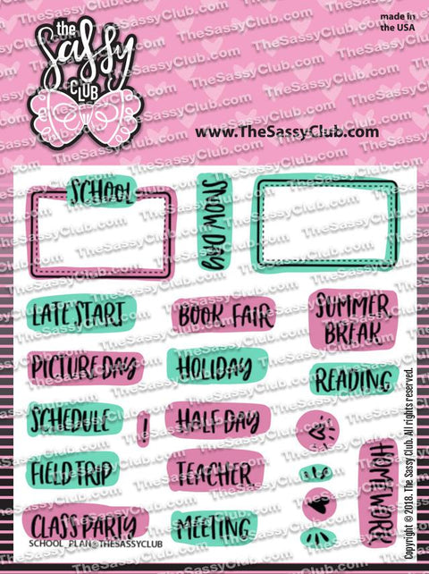 School Plans - Clear Stamps by The Sassy Club