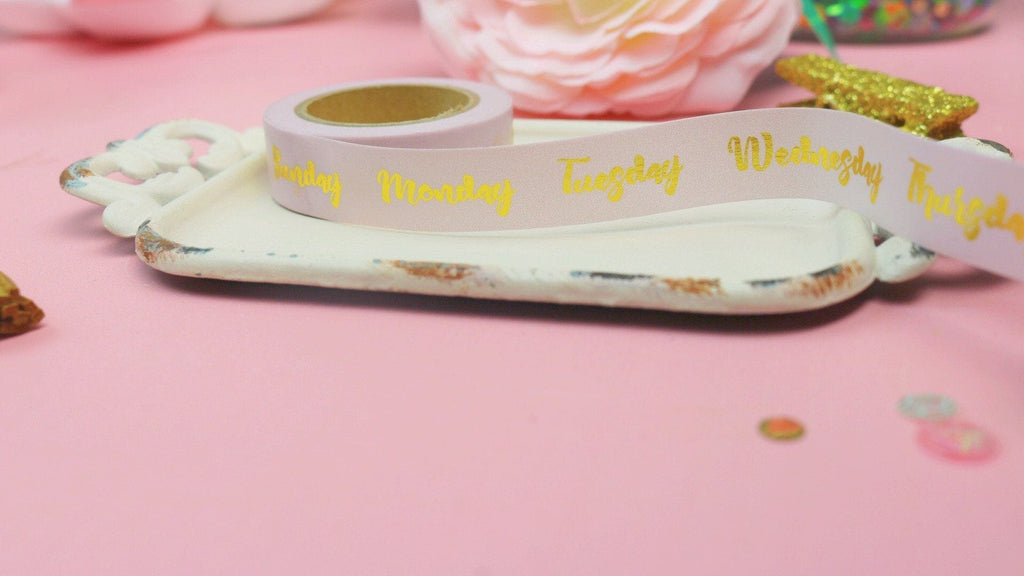 Gold foiled days of the week washi - Planner Stamps by The Sassy Club