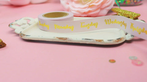Gold Foiled Days Of The Week Washi Tape