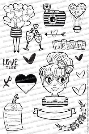 SandraAmelia Love Struck - Clear Stamp Set