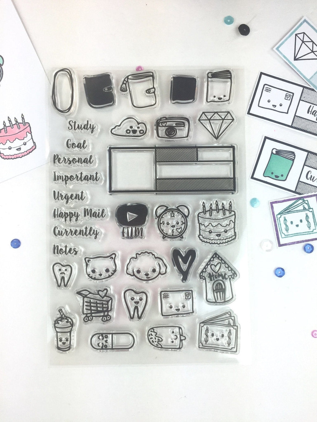 SandraAmelia Stamps Planner Doodles - Clear Stamp Set