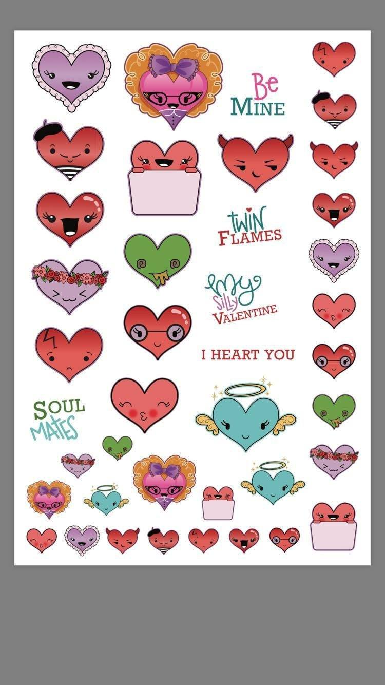 I heart you Stickers (2 Sheets) - Clear Stamps by The Sassy Club